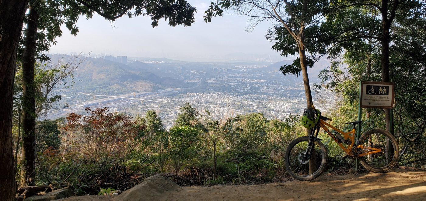 views over northern Hong Kong from mountain bike trail
